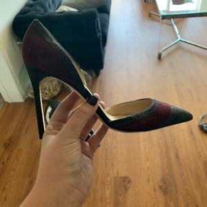Never worn maroon and grey heels